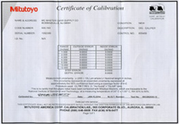 Mitutoyo Certificate of Calibration