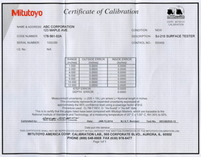 Example of the Included NIST Traceable Calibration Certificate (PDF)