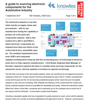 A Guide to Sourcing Electronic Components for the Automotive Industry
