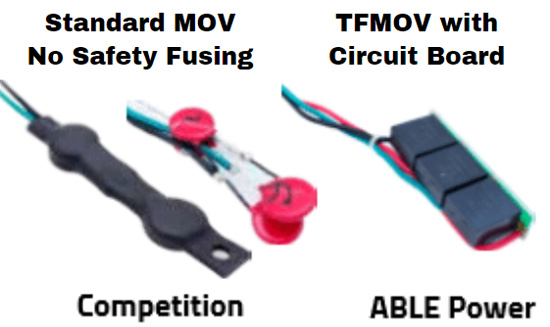 Standard MOV No Safety Fusing and TFMOV with Circuit Board