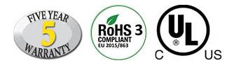 Five Year Warranty, RoHS 3 Compliant, UL