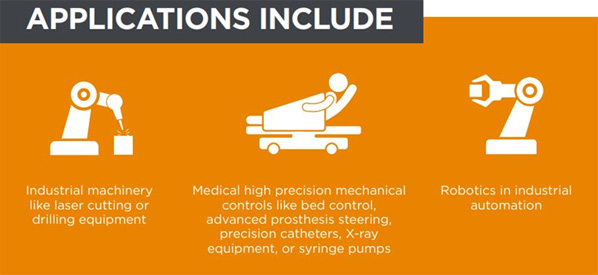 Applications Include: Industrial Machinery, Medical High-Precision, Robotics in Industrial Automation