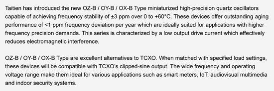 Taitien Introduces Miniaturized High Precision Crystal Oscillator OZ-B / OY-B / OX-B Type