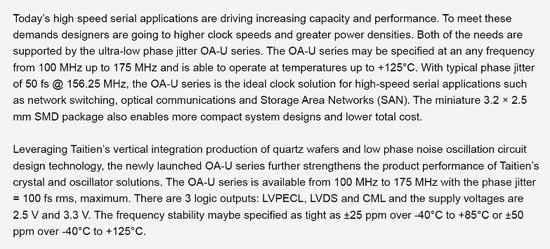 Taitien Releases the OA-U Series of Ultra-Low Jitter Clock Oscillators for High Frequency and High Temperature Applications Content