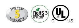 Five Year Warranty, RoHS 3, UL